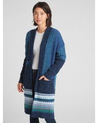dea1311f160 Women's Blue Mix-knit Patchwork Duster Cardigan Sweater