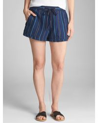 """GAP Factory - Blue 3"""" Pull-on Utility Shorts In Linen-cotton - Lyst"""