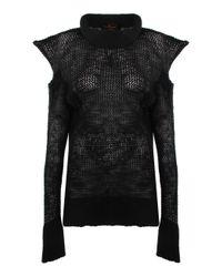 Vivienne Westwood Anglomania   Sports Loden Capri Net Envelope Jumper Charcoal/black   Lyst