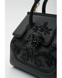 Versace - Black Palazzo Empire Medium Crystal Embellished Leather Satchel - Lyst