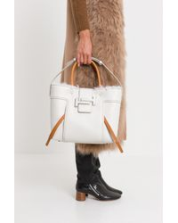 Tod's Multicolor Medium Double T Shopping Bag With Fur Interior