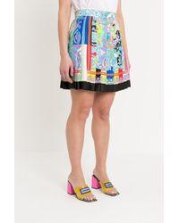 Versace Multicolor Rainbow Baroque Pleated Skirt