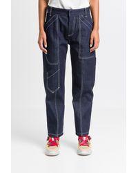 Jeans cargo con impunture bianche di Chloé in Blue