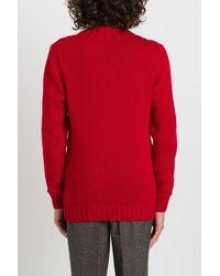 Maglione a Trecce di Tagliatore in Red da Uomo