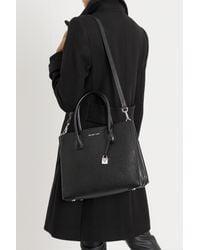 603731dd8f MICHAEL Michael Kors. Women's Black Mercer Large Pebbled Leather Accordion  Tote