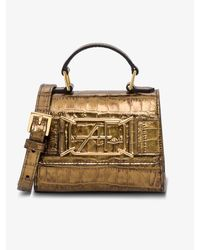 Alberta Ferretti Metallic Mini Crocodile Embossed Leather Shoulder Bag