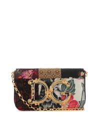 Dolce & Gabbana Multicolor Fabric And Snakeskin Shoulder Bag Donna