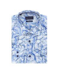 Gem Malki Blue Smoke Print Long Sleeve Cotton Shirt for men