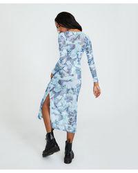 TWIIN Statuesque Sheer Midi Dress Blue