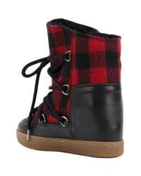 Isabel Marant Multicolor Tartan Shearling Nowles Boots