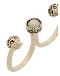Alexander McQueen - Multicolor Skull Double Ring - Lyst