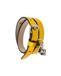 Alexander McQueen - Multicolor Skull Leather Bracelet - Lyst