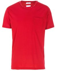 Valentino Red Rockstud T Shirt With Chest Pocket for men