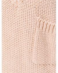Chloé Pink Knitted V-neck Pocket Sweater