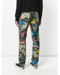 Loewe Blue Printed Straight-leg Jeans for men