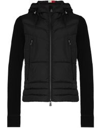3 MONCLER GRENOBLE Black Zip-up Hooded Cardigan for men