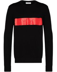 Givenchy Black Sweater In Wool With Latex Band for men