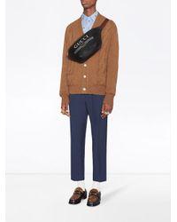 Gucci Black Print Leather Belt Bag for men