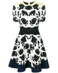 Alexander McQueen Black Floral Knit Dress