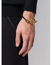 Alexander McQueen - Metallic Skull Leather Bracelet for Men - Lyst