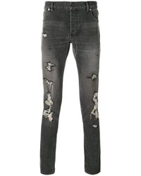 Balmain Gray Distressed Slim Fit Jeans for men