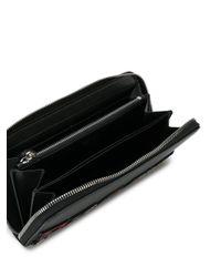 Prada - Black Leather Logo Zip Wallet for Men - Lyst