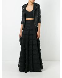 Givenchy - Black Ruffle Trim Flared Skirt - Lyst