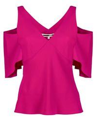 McQ Alexander McQueen Pink Black Top With Bare Shoulders