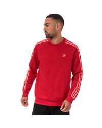 Adidas Originals Red 3-stripes Crew Sweatshirt for men