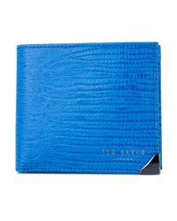 Ted Baker Blue Lobbee Lizard Bifold Wallet With Coin for men