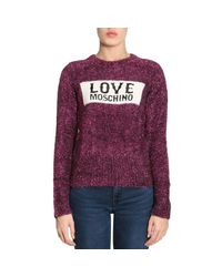Love Moschino Purple Glitter Logo Jumper