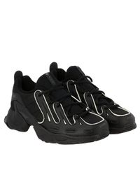 Adidas Originals Black Sneakers Eqt Gazelle In Leather And Net With Contrasts for men