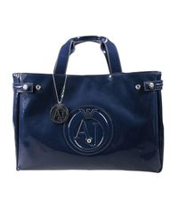 Armani Jeans | Blue Mini Bags Patent Leather Classic Shopping Bag With Rhinest | Lyst