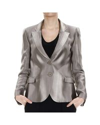 Emporio Armani | Natural Blazer 2 Buttons Satin Striped Devore' | Lyst