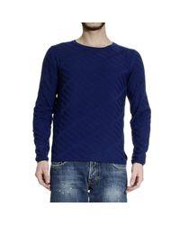Fendi | Blue Sweater Roundneck Jaquard Geometric for Men | Lyst