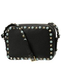 Valentino Black My Rockstud Rolling Single Handle Bag