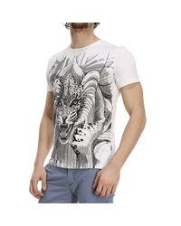 Just Cavalli - White T-shirt Mezza Manica Girocollo Stampa Tigre for Men - Lyst