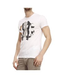 Roberto Cavalli White T-shirt Short Sleeves Crewneck Logo Print for men
