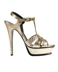 Saint Laurent - Metallic Heeled Sandals Shoes Woman - Lyst