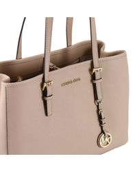 MICHAEL Michael Kors - Natural Large Jet Set Travel Tote Bag In Saffiano Leather - Lyst