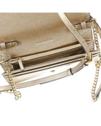 MICHAEL Michael Kors - Metallic Borsa Mini Jet Set Travel Wallet On A Chain Saffiano Metal - Lyst