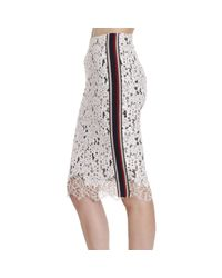 Pinko Multicolor Embroidered Lace Pencil Skirt