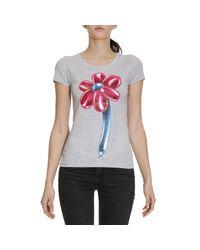 Love Moschino   Gray T-shirt Women   Lyst