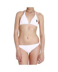 Polo Ralph Lauren - White Swimsuit Bikini Triangle Large Pony - Lyst