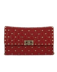 Valentino Garavani Red Valentino Rockstud Spike Small Bag In Quilted Nappa Leather With Metal Studs And Shoulder Strap