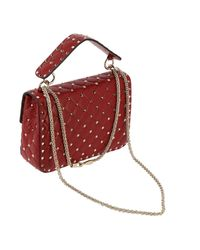 Valentino - Red Valentino Rockstud Spike Medium Bag In Genuine Leather With Micro Studs And Sliding Shoulder Strap - Lyst