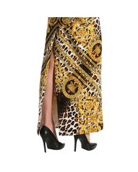 Versace Metallic Sleeveless Baroque Leopard-print Column Evening Gown With Chain Straps