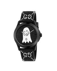Gucci Black G-timeless Rubber Watch Case 38 Mm With Monogram And Ghost for men