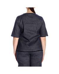 Marina Rinaldi Blue Sweater Coat Women