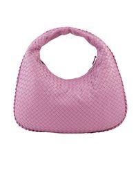 Bottega Veneta Pink Hobo Bag Veneta Medium In Leather With Woven Pattern